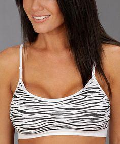 This Black & White Zebra Seamless Wireless Bra - Women is perfect! #zulilyfinds