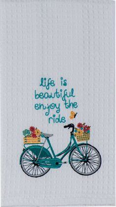 """Vintage Turquoise Bike Life Quote Embroidered 100% Cotton Waffle Dish Towel / Tea Towel, 18"""" x 28"""""""