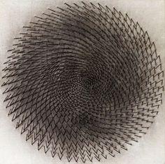 blue-voids:  Günther Uecker- Nails on canvas, 1964