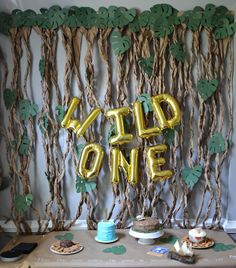 Cover your tables with craft paper and write on it with chalk pen for a cute display and to make cleanup super easy! Wild One Birthday Party, Safari Birthday Party, Boy First Birthday, Boy Birthday Parties, Girl Safari Party, Birthday Ideas, Safari Theme, Jungle Safari, Birthday Celebration