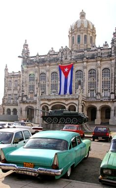 Vintage car outside the Museum of the Revolution, in Havana, Cuba.