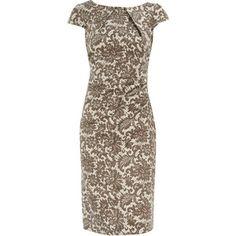Brown lace print pencil dress - Dorothy Perkins - Polyvore