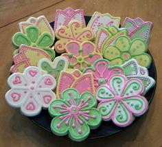 Spring Cookies  Decorated Cookies Sugar Cookies Flower Cookies Royal Icing