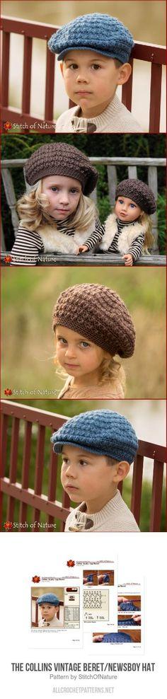The Collins Vintage Beret/Newsboy Hat crochet pattern