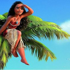Moana on top of the tropical palm tree Moana Disney, Disney And More, Disney Love, Disney Magic, Disney And Dreamworks, Disney Pixar, Walt Disney, Images Disney, Carl Y Ellie
