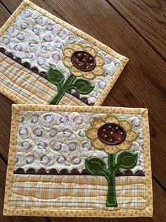 *****Cute APPLIQUE SUNFLOWER *****Late summer colors of yellow gold and brown *****Brown Rick rack trim *****Mug rug measures 6 1/2 by 8 1/2 *****Quilted using monofilament thread