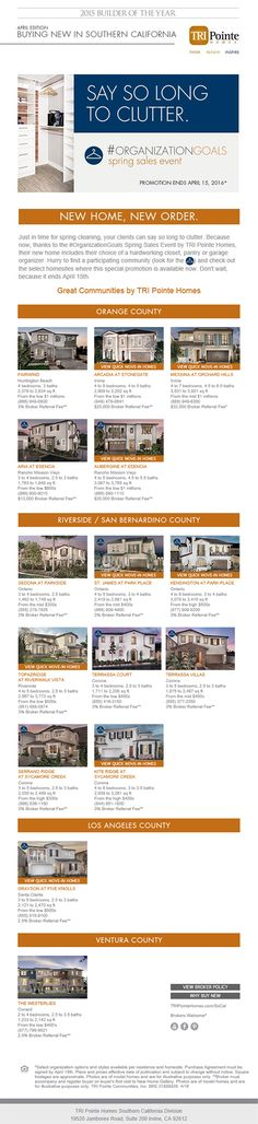 New Homes for Sale in Southern California  Buying New In Southern California - April Edition  Brokers Welcome  |  Broker Referral Fee Varies by Community  |  Bring your clients today to the #organizationgoals Spring Sales Event  http://www.tripointehomes.com/southern-california/