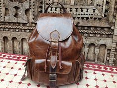 Small  Smooth Leather  Backpack with Fleurdelis by saradisigner, $189.00