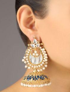 Long Gold Antique Rhinestone Earrings For Bridal Wedding South ... 9a7cf03e6546