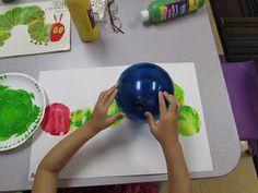 Balloon Painting a Hungry Caterpillar :Mrs. Karens Preschool Ideas: Insect Week!