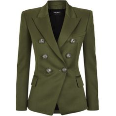 Balmain Double-Breasted Wool Blazer found on Polyvore