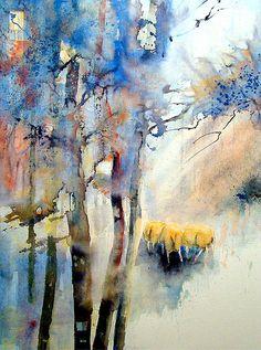 Sheep by Gerard Hendriks, watercolor Watercolor Trees, Watercolor Landscape, Abstract Watercolor, Watercolor And Ink, Abstract Landscape, Landscape Paintings, Watercolor Paintings, Abstract Art, Watercolours