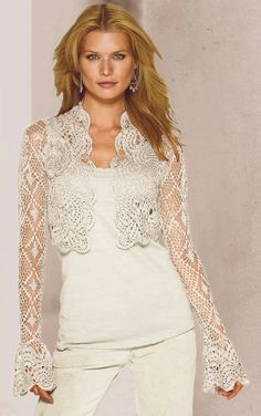 MyPicot | Free Crochet Patterns. //  ♡ THIS IS BEAUTIFUL!!! I LOVE THE SLEEVES! AND HER LEVEL OF PERFECTION, AND SEEMINGLY ENDLESS IMAGINATION, NEVER CEASES TO AMAZE ME!!!  ♥A