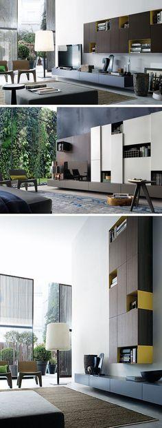 Contemporary TV wall unit_SINTESI by Carlo Colombo by Poliform