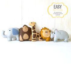 Safari Stuffed Animal Sewing Patterns Felt by LittleSoftieShoppe