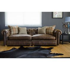 Franklin Leather Grand Sofa   Overstock™ Shopping   Great Deals On Sofas U0026  Loveseats