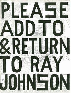 From Ray Johnson - Mail Art & Ephemera - Art - Ray Johnson Estate
