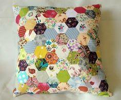 Beautiful patchwork cushion by Kandi Pandi - tutorial here: http://kandipandi.blogspot.com/2011/05/1-little-hexie-cushion-tutorial-part-1.html