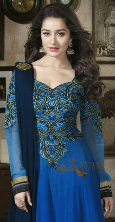 Latest, stylish, designer, floor length long Anarkali dress, looks different because of Perfect combination of shaded Blue coloured fabric and crafty touch of embroidery on chest & arms, appropriate, exclusive & choosy patch and lace work on long-sleeves, dupatta and bottom-part has added glamour to Indian celebrity Shraddha Kapoor.