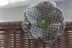 Rustic Checked Flower Clip by NewCreatures on Etsy, $10.00