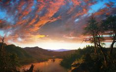 Frederic Edwin Church used oil on canvas to paint this spectacular view of a blazing sunset over wilderness near Mount Katahdin in Maine, which he had sketched during a visit nearly two years earlier. Although Church often extolled the grandeur of pristine American landscape in his work, this painti