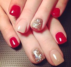 Image via Beautiful Wedding red nail art design Image via Flower Wedding red nail art Image via Image via I love this but every time I get just one nail a light color it look Fancy Nails, Love Nails, Red Nails, Glitter Nails, How To Do Nails, Pretty Nails, Pink Glitter, Beige Nails, Stiletto Nails