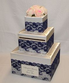 Ivory Wedding Card Box with Navy Blue Lace /Pale Pink Roses-crystal accents Ivory Wedding Box with N Wedding Envelope Box, Wedding Gift Card Box, Money Box Wedding, Gift Card Boxes, Wedding Envelopes, Wedding Boxes, Wedding Cards, Wedding Gifts, Trendy Wedding