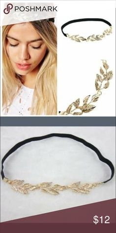 "Gold leaf headband Black tie headband with gold leaves. Some ""diamond"" accent in the leaves Accessories Hair Accessories"