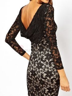 Sexy Long Sleeve Double-Deck Lace Slim Hip Package Dress on buytrends.com