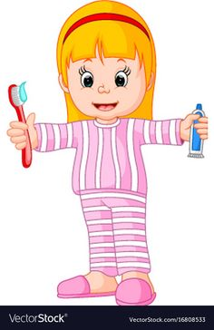 Cartoon a young girl brushing her tooth Royalty Free Vector - Saludable Mundo Preschool Worksheets, Preschool Classroom, Kindergarten, Firefighter Clipart, Color Flashcards, My Little Pony Coloring, School Clipart, Dental Humor, Diy Scarf