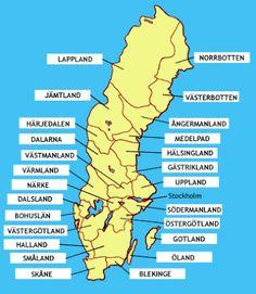 Karta över Sveriges Landskap Regionen Sweden Map, Sweden Travel, Learn Swedish Online, Swedish Quotes, Swedish Traditions, Swedish Language, Maps For Kids, Lappland, Funny Facts