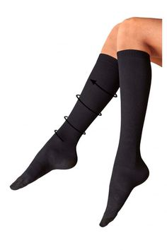 7312289ae54 Pretty Legs Ribbed Compression Sock Black Size 4-7 SA170 BB 04  fashion   · Knee  High ...