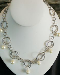 White Shell Pearl Silver Double Loop Necklace