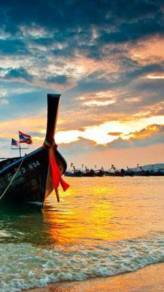 Beach, Coast, Ships, Sunrise, Sunset, Transportation, Thailand