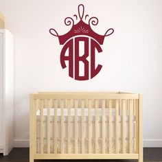 Name And Initial Vinyl Wall Decal Elegant Border Personalized - Monogram wall decal for nursery