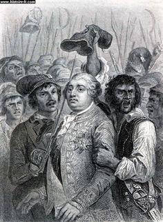 La guerre contre l'Autriche, la fin de la monarchie (été 1791 à septembre 1792). Louis XVI acceptant de porter le bonnet phrygien le 20 juin 1792