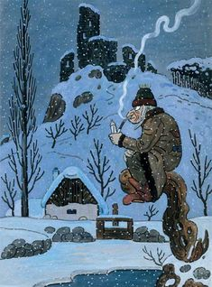Czech illustration - Jozef Lada From Book - Bubáci a Hastrmani Christmas Illustration, Illustration Art, Grandma Moses, Naive Art, Green Man, Winter Scenes, Anime Comics, Illustrators, Folk Art