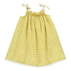 Babe & Tess Checked Sun Bath Dress Yellow