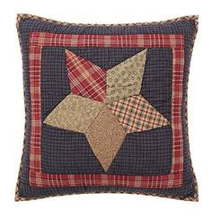 """Add our Arlington Quilted Pillow 16"""" Filled to your Arlington quilted bedding or purchase a couple for your living space for all to enjoy. https://www.primitivestarquiltshop.com/products/arlington-quilted-pillow-16-filled #primitivecountrybedroomsbeddingandaccessories"""