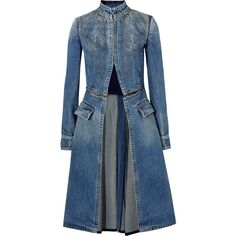 Alexander McQueen Embroidered denim coat (1,900 NZD) ❤ liked on Polyvore featuring outerwear, coats, mid denim, vintage coat, blue coat, denim coat, embroidered coat and alexander mcqueen
