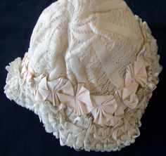 Maria Niforos - Fine Antique Lace, Linens & Textiles : Antique Christening Gowns & Children's Items # CI-116 Charming 19th C. Valencienne Bonnet w/ Ribbons