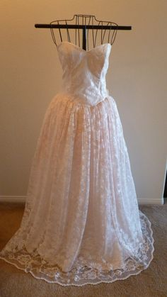 Vintage Gunne Sax Jessica McClintock Strapless Pink Lace Full Length Bridal Prom Dress Gown