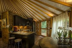 Luxury Yurt Camping near Lake Nantahala in the National Forest of North Carolina Yurt Interior, Interior Design, Casa Yurt, Yurt Tent, Pacific Yurts, Luxury Yurt, Yurt Camping, Glamping, Yurt Home