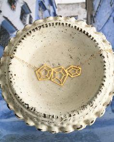 Geometric Linked Pentagon Prism Necklace // Gold Plated Laser Cut Geo Gem…