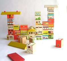 Wooden House and Cityscape Blocks by SweetLoveVintage on Etsy