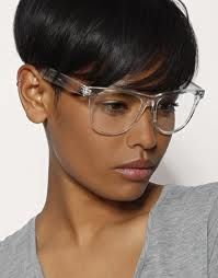 Clear eyeglass frames.