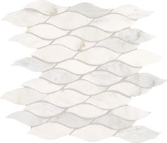 Marble Collection First Snow Elegance M190 Wave Mosaic Polished Tile.