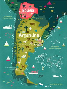 Illustrated map of Argentina & Bolivia