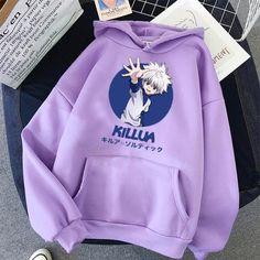 2021 Hot Japanese Anime Manga Kawaii Hunter X Hunter Hoodies Men/Women Short Sleeve Sweatshirt Killua Zoldyck Hoddie For Teens - a104 / L