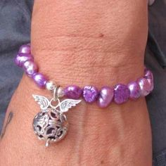 samaki Schmuck Liebling mit den Flügeln an lila Perlen aus Asien